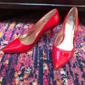 "BCBG Paris cherry red 3"" pumps 7M"